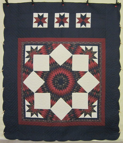 Split Stars Compass Patchwork Amish Quilt 102x117