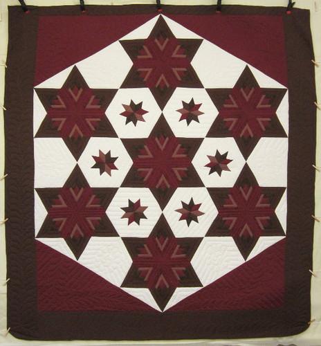 King Hexagon Star Patchwork Amish Quilt 107x115