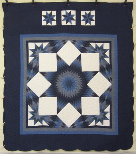 Diamond Star Patchwork Amish Quilt 102x115
