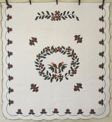 Songbird Wreath Applique Amish Quilt 105x113