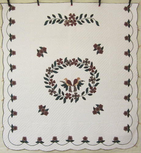 Songbird Wreath Applique Amish Quilt 105x113