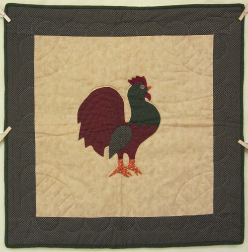 Amish Rooster Applique Wall Hanging Quilt