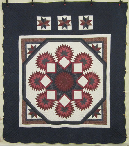 Compass Stars Patchwork Amish Quilt 101x115