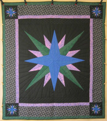 Mariners Compass Starburst Patchwork Amish Quilt 94x106