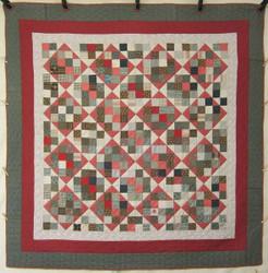 Antique Patchwork Red Black Amish Quilt  90x90