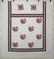 Heart Rose Bud Applique Amish Quilt 101x111