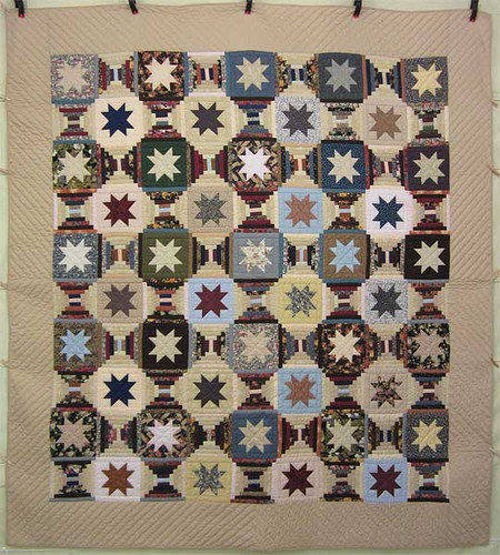Scrappy Star Over Log Cabin Patchwork Amish Quilt 101x110
