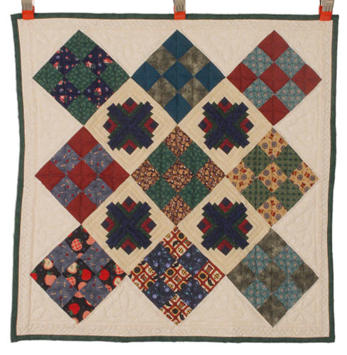 Log Cabins in Town Square Amish Patchwork Wall Hanging Quilt W14004PVSS
