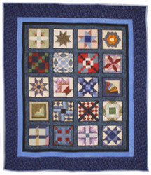 Blue Sampler Amish Patchwork Queen Quilt 99x115