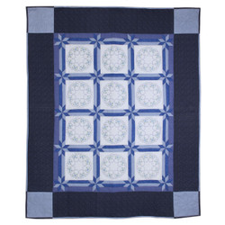 Blue White Embroidered Amish Quilt 87x106