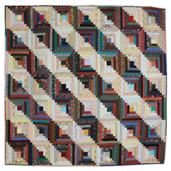 Scrap Log Cabin King Amish Quilt 104x108
