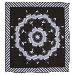 Split Star Midnight King Queen Amish Quilt 101x109