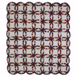 Queen Double Wedding Ring Amish Quilt 98x113