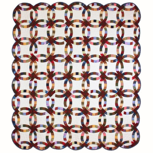 Double Wedding Ring Queen Amish Quilt 98x113