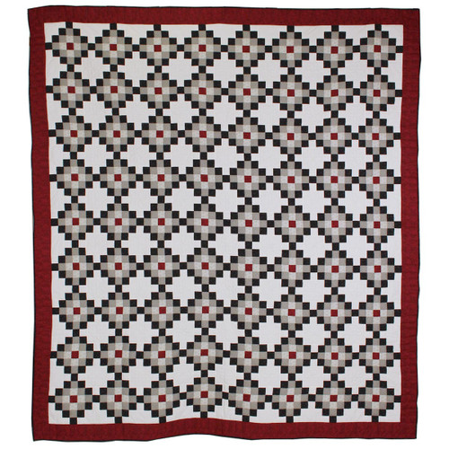 Nine Patch Black Red Patchwork King Queen Amish Quilt 100x113