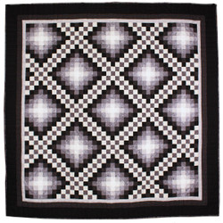 Trip Around the Worlds Black TATW Patchwork King Amish Quilt 110x110