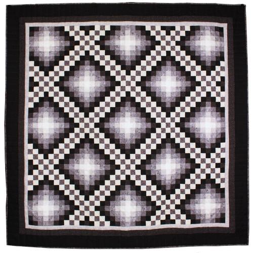Trip Around the Worlds Black TATW Patchwork King Amish Quilt 110x110