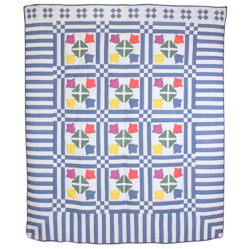 Tulip Applique Blue White Queen Amish Quilt 96x112