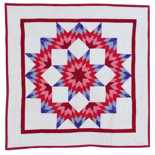 Red Split Star Amish Quilt Wall Hanging 38""