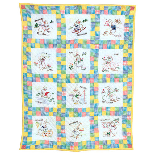 Embroidered 12 Bunny Months of the Year Amish Quilt Wall Hanging 37x48""
