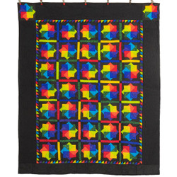 Stunning Colorful Pinwheel Patchwork Amish Quilt  88x106