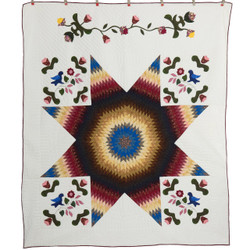 Improved Lone Star Amish Patchwork Quilt 92x108