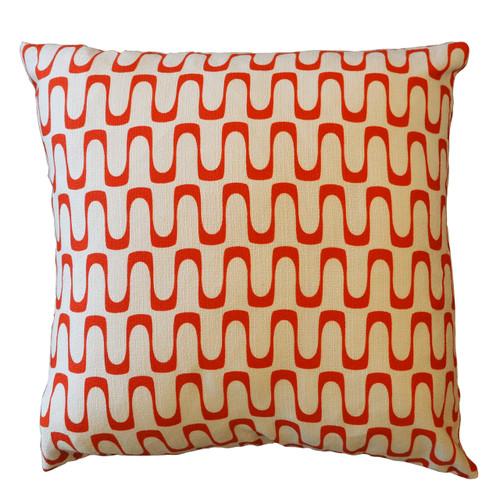"""Barkcloth Throw Pillow """"Wavelength"""" Red"""
