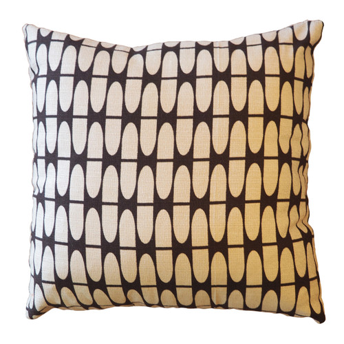 "Barkcloth Throw Pillow ""Half Life"" Tan and Brown"