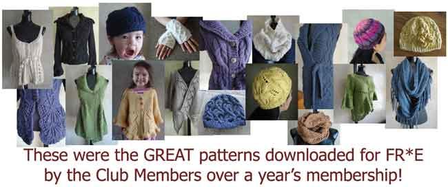 1 year's worth of Knitting Club patterns