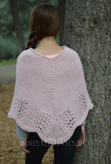 scalloped edge poncho knitting pattern, shown in size S