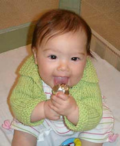 knitting pattern photo for #15 Chunky Cotton Baby Cardigan PDF Knitting Pattern