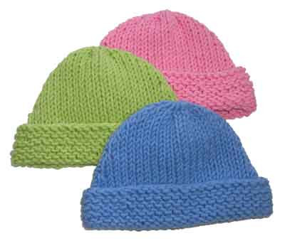 Knitting Pattern For A Toddlers Beanie : Very Easy Baby Beanie Knitting Pattern from SweaterBabe.com.