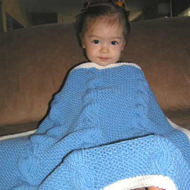 knitting pattern photo for #43 Chunky Cabled Baby Blanket PDF Knitting Pattern