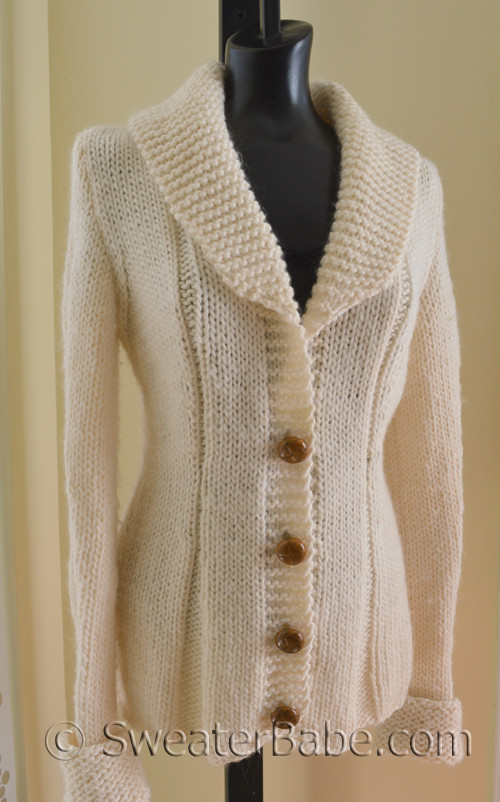 Knitting Pattern Sweater With Collar : Charming Shawl-Collared Cardigan Knitting Pattern in Lambs Pride Bulky Y...