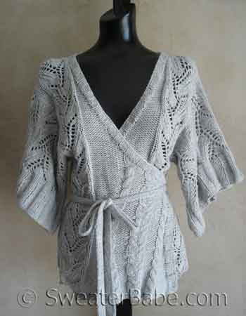 Cables and Lace Kimono Wrap Cardigan Knitting Pattern from SweaterBabe.com.