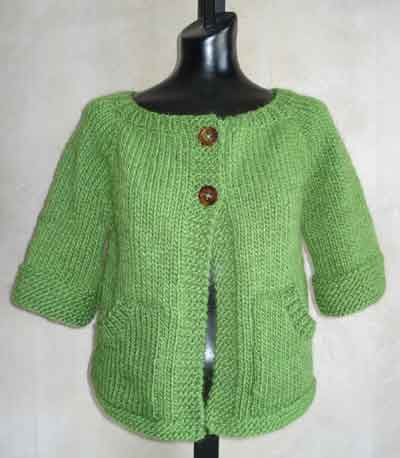Free Knitting Pattern Short Jacket : Easy Short Sleeved Boxy Womens Cardigan Knitting Pattern in Lambs P...