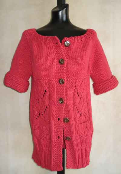 Easy Short Sleeved Womens Lace Tunic Cardigan Knitting Pattern In