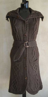 knitting pattern photo of #71 Intricately Cabled Long Vest Knitting Pattern