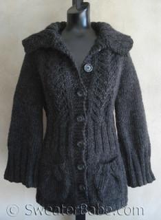 knitting pattern photo of #77 Vine Lace Top Down Cardigan Knitting Pattern