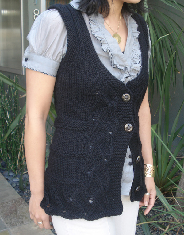 Free Knitted Vest Patterns : Womens Shaped Lace Vest Free PDF Knitting Pattern in Lamps Pride Wo...