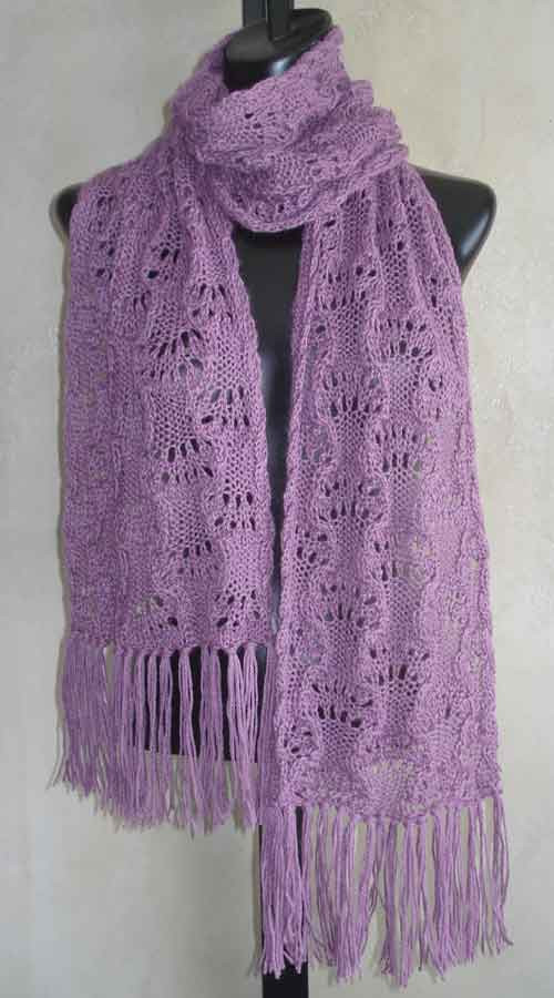 Womens Delicate Lace Scarf PDF Knitting Pattern in Blue Sky Alpacas Alpa...