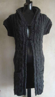 knitting pattern photo of #85 Wavy Textured Hooded Vest PDF Knitting Pattern