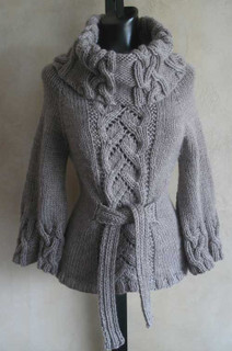 knitting pattern photo of #90 Chic Cables and Lace Cowl Neck Sweater PDF Knitting Pattern