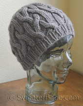 knitting pattern photo of #92 One Skein Braided Cable Hat PDF Knitting Pattern