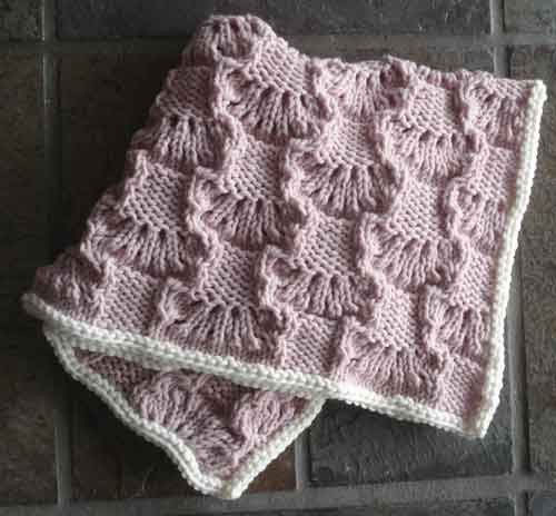 Beautifully textured Wavy Lace Squares Baby Blanket PDF Knitting Pattern from...