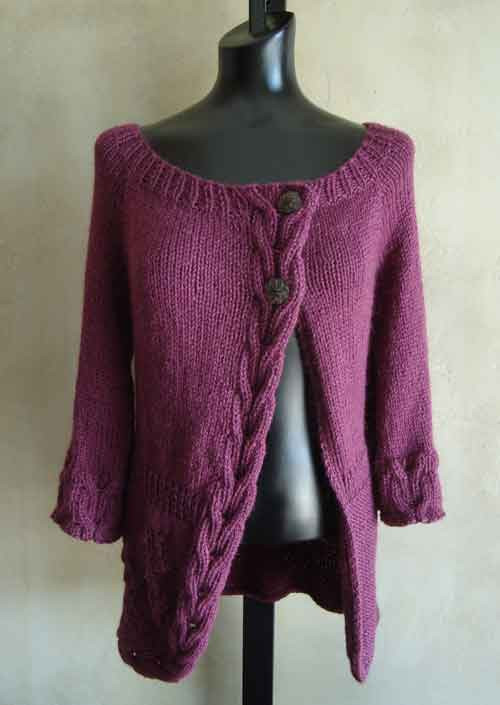 Seamless PDF Knitting Pattern for Cables and Flowers Top-Down Cardigan from S...