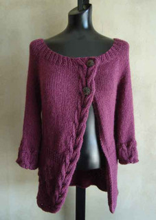 knitting pattern photo of #94 Cables and Flowers Top-Down Cardigan PDF Knitting Pattern
