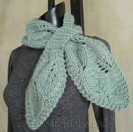 knitting pattern photo for #95 Falling Leaves Pull-Through Scarf PDF Knitting Pattern