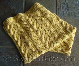 knitting pattern photo of #96 Fancy Cables and Lace Baby Blanket PDF Knitting Pattern