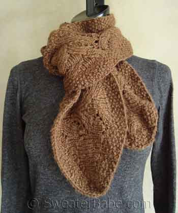 Chic Ruffled Edge Lace Scarf PDF Knitting Pattern from SweaterBabe.com